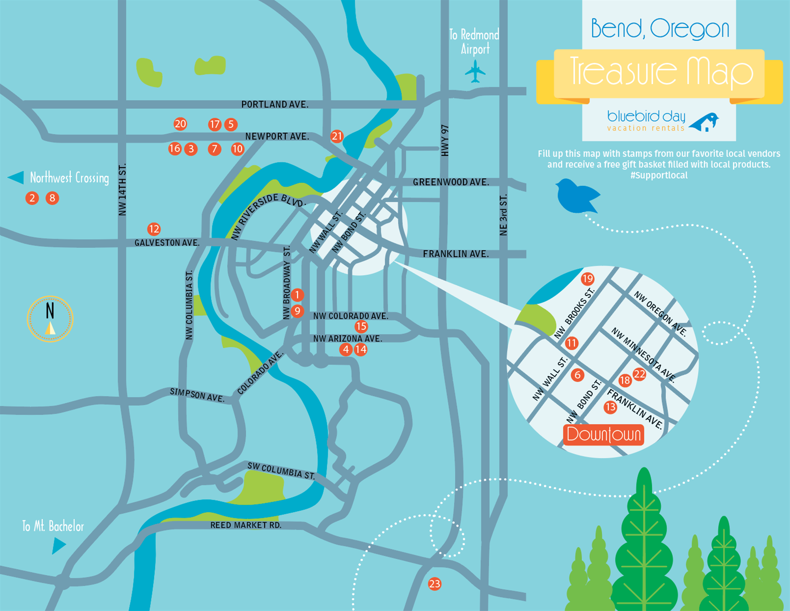 Bluebird Day Treasure Map Bend Or Local Community Breweries